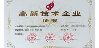 热烈庆祝上海缆胜特种电缆有限公司成功申报        上海市高新技术企业